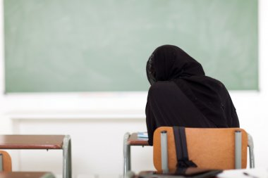 Arabian school girl in classroom