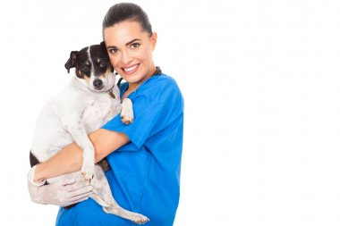 Vet doctor hugging pet dog