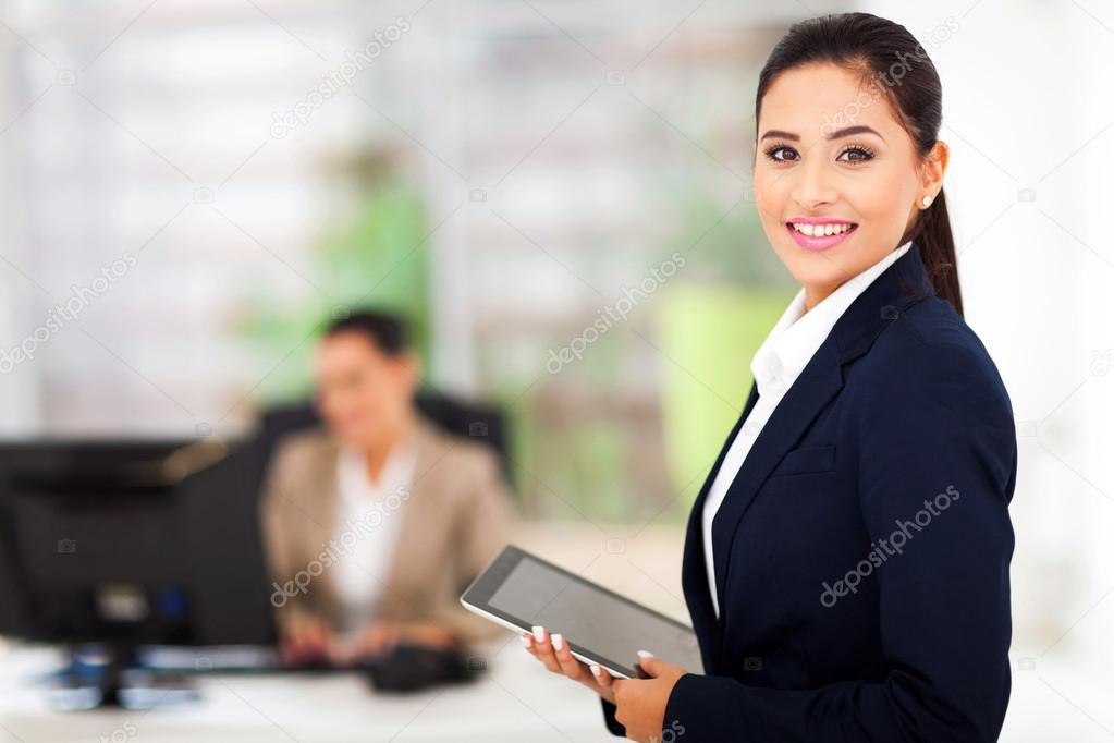 modern businesswoman holding tablet computer
