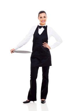 pretty waitress with empty tray