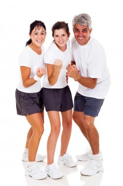 Sporty family on white background