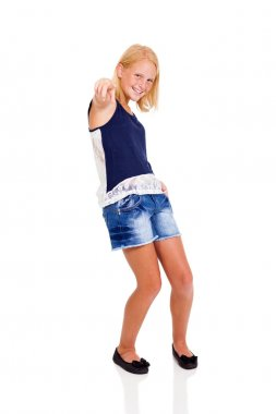 cute teenage girl pointing