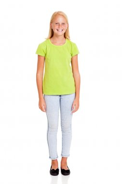 pretty preteen girl full length portrait