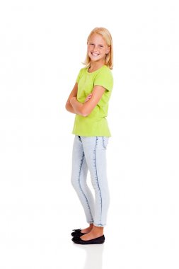 happy preteen girl side view portrait