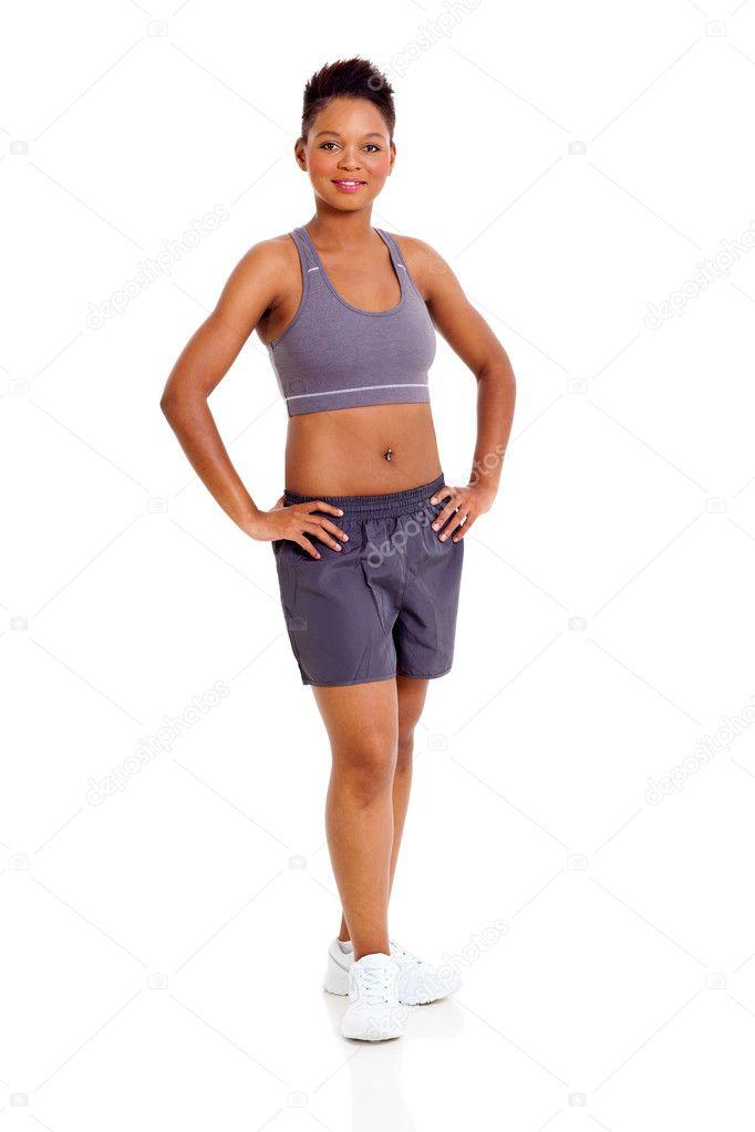 sportive femme africaine sur fond blanc — Photographie michaeljung ... 6269f272479