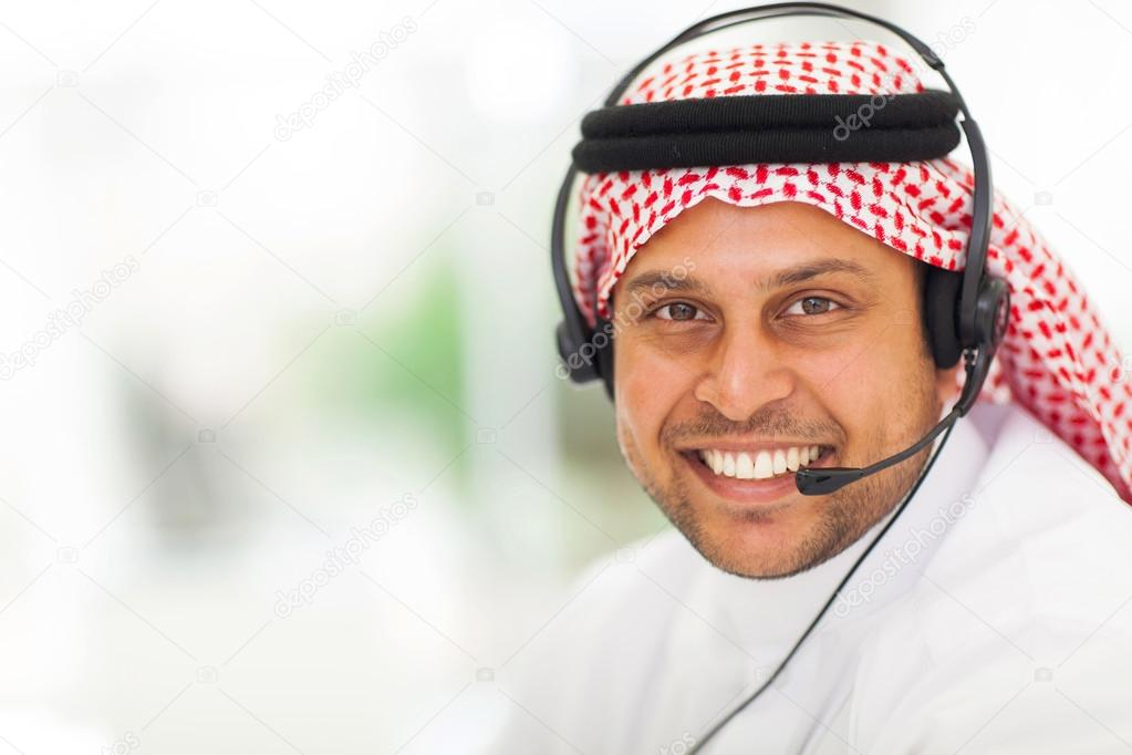 arabic business man with headphone