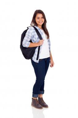 teen high school girl with backpack