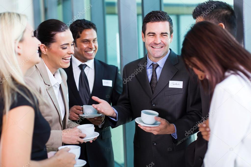 funny businessman telling a joke