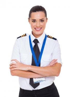 beautiful female airline pilot