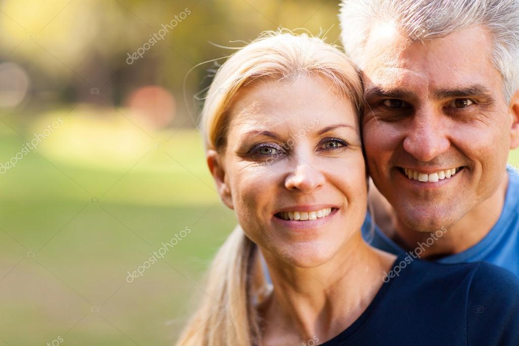 middle aged couple closeup portrait