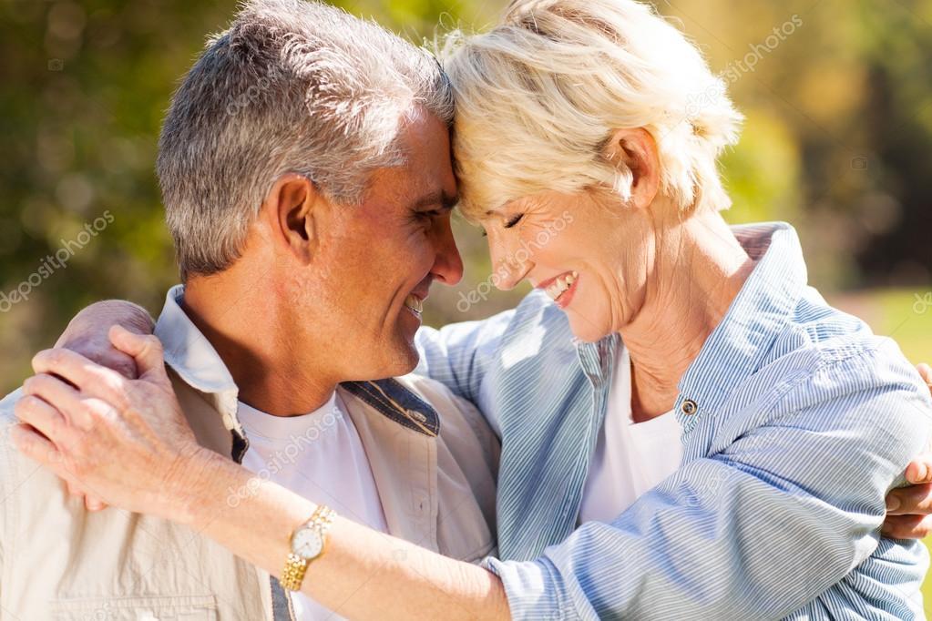 Loving middle aged couple closeup