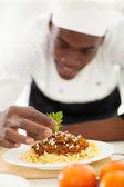 africké šéfkuchař obloha špagety