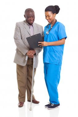 young african healthcare worker and senior patient