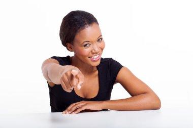 black businesswoman pointing
