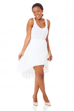african woman in white dress