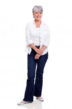 senior woman posing on white background