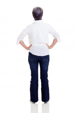 rear view of middle aged woman