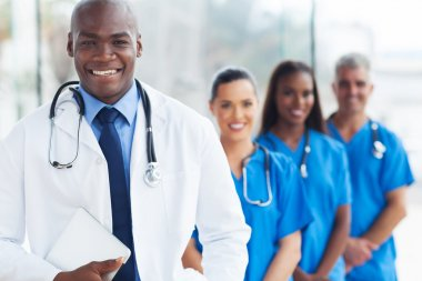 Young african american doctor and colleagues