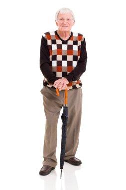 elderly man with umbrella