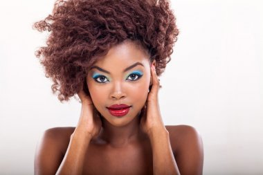 young african american woman with makeup