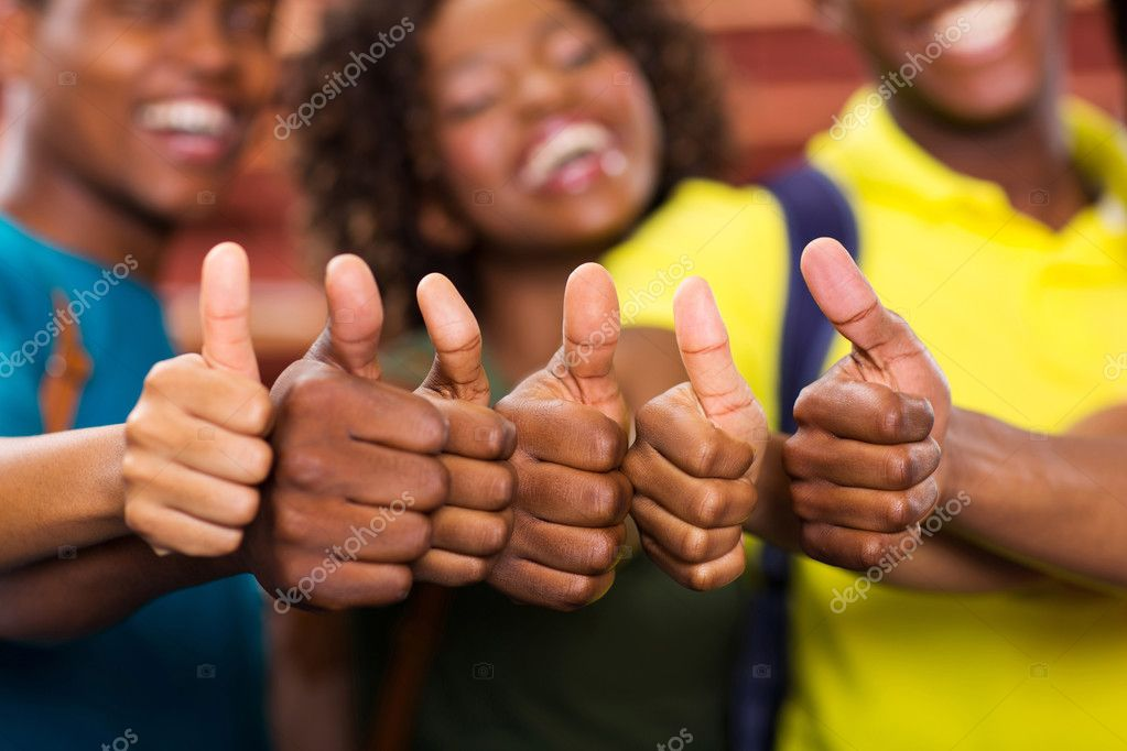 African friends thumbs up