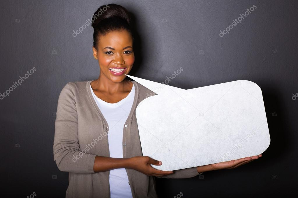 african woman with blank text bubble