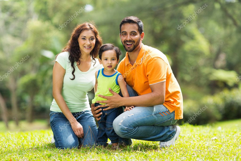 happy indian family outdoors