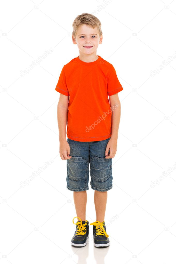 cute boy standing on white