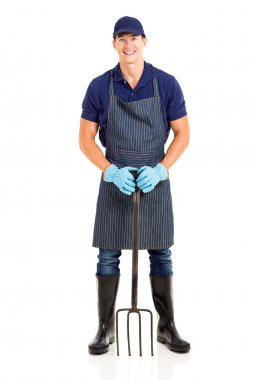 Gardener with a garden fork