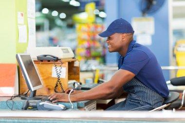 African cashier working
