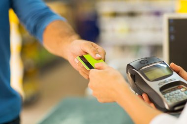 Customer paying with credit card