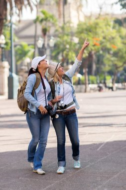 Young female travellers sightseeing