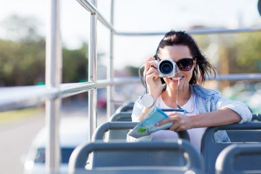 Traveller taking photo of city