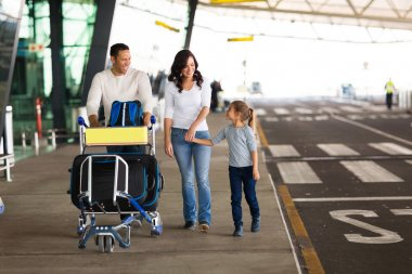 Family with suitcases at airport