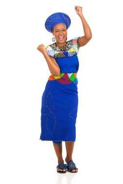 African woman celebrating