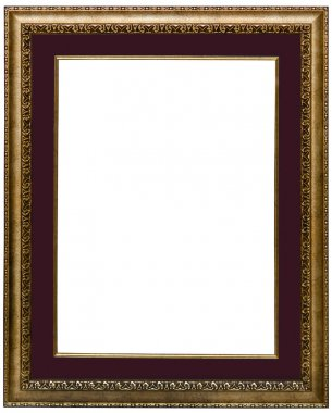Classical carved golden frame with vinous mat