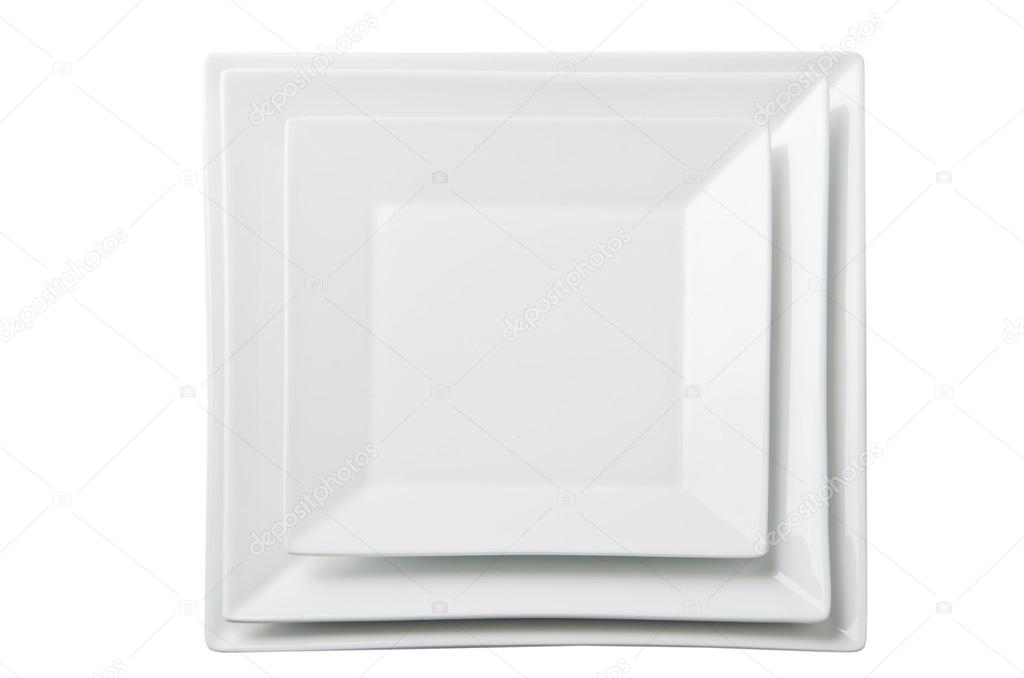 Three empty square white plates u2014 Stock Photo  sc 1 st  Depositphotos & Three empty square white plates u2014 Stock Photo © Dudaeva #29770709