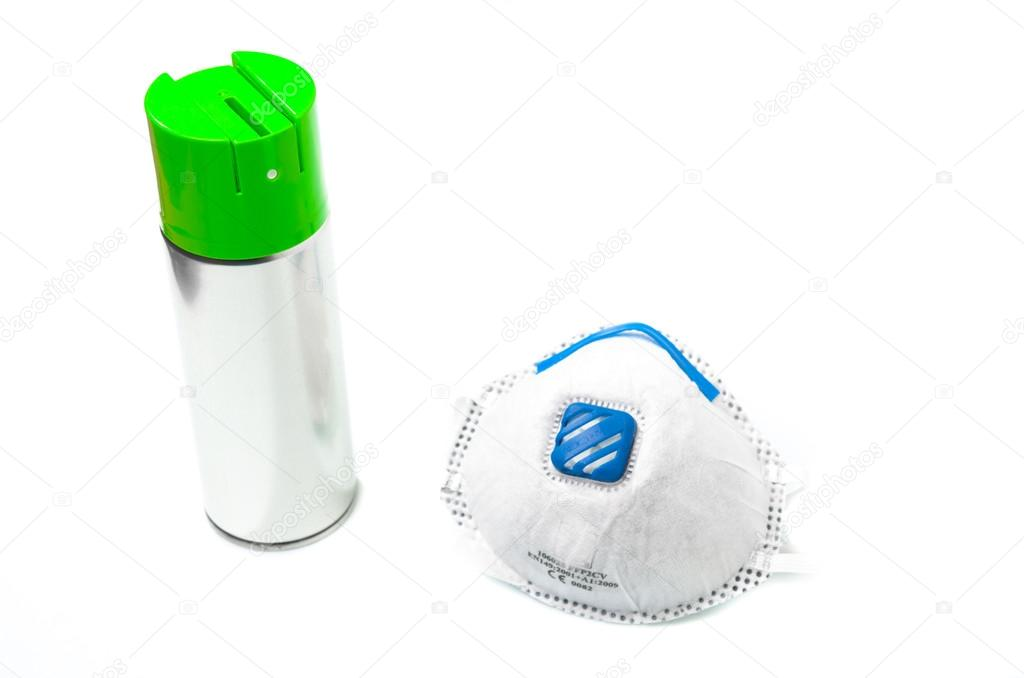 Spray can and surgical mask — Stock Photo © bluneo #22521397