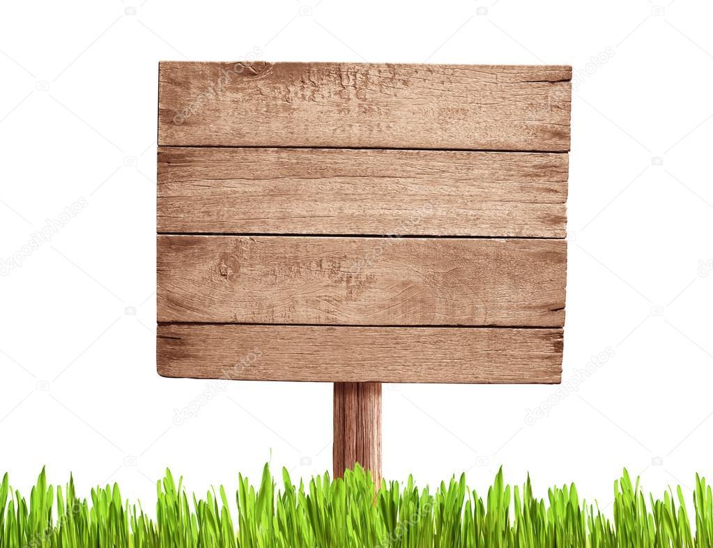 ancien panneau de signalisation de bois vide avec de l 39 herbe photographie andrey kuzmin. Black Bedroom Furniture Sets. Home Design Ideas