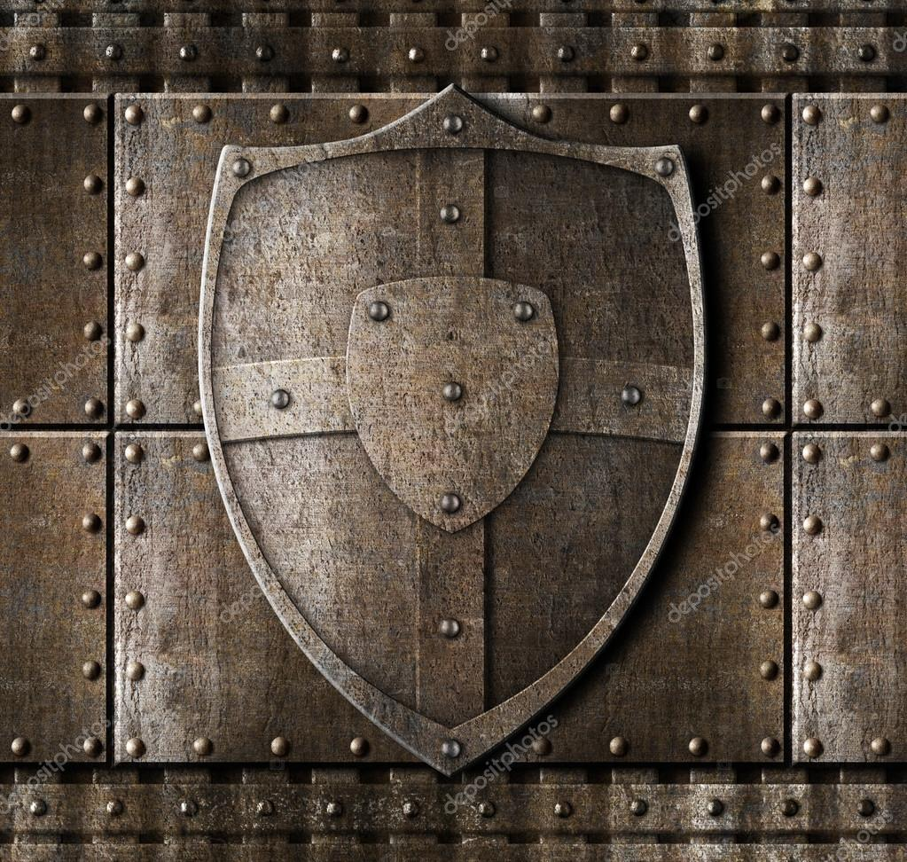 Metal Shield Over Armour Background With Rivets Stock