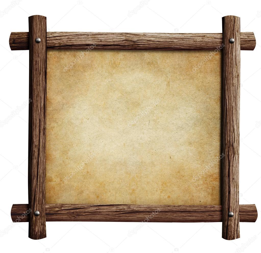 marco de madera vieja con papel o pergamino aislado en el fondo ...