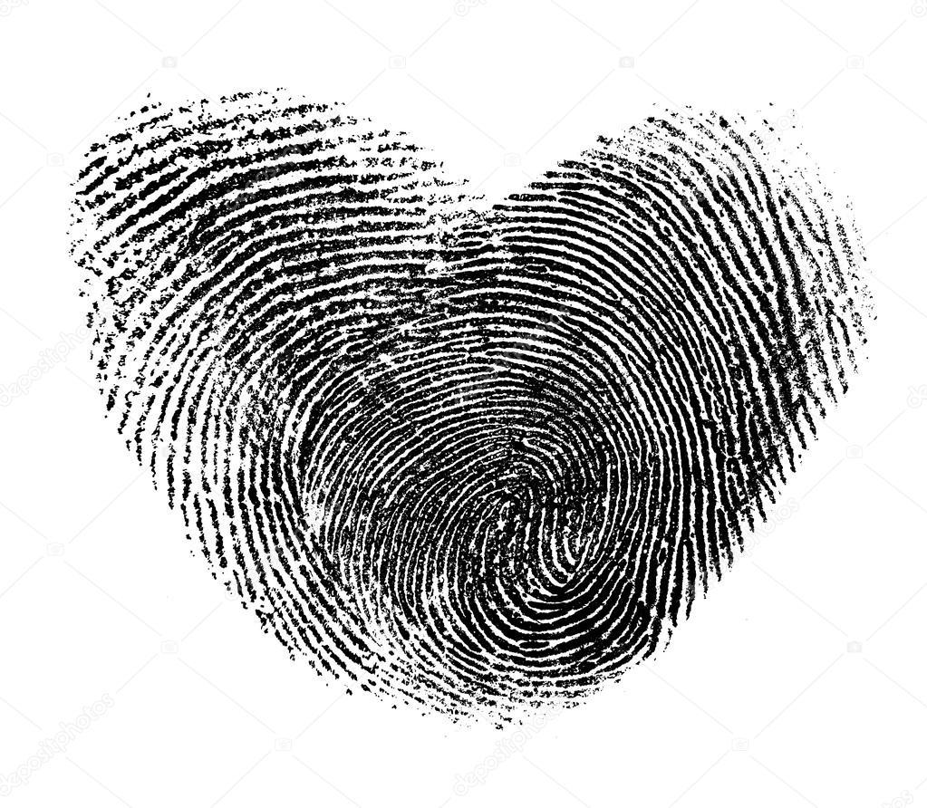 Großartig Bild Fingerabdruck Galerie Von Herz Isoliert Auf Weiß — Foto Von