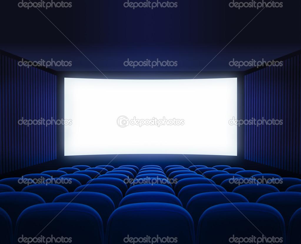 vide salle de cin ma bleu avec cran blanc pour la pr sentation du film photographie andrey. Black Bedroom Furniture Sets. Home Design Ideas