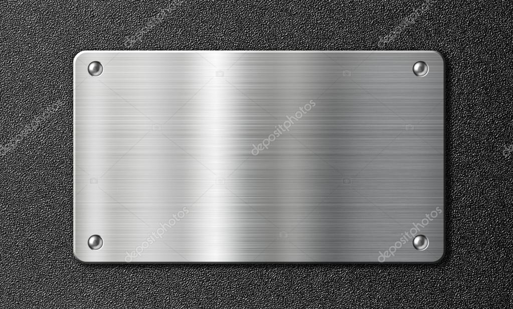 Stainless Steel Metal Plate Over Black Texture Stock
