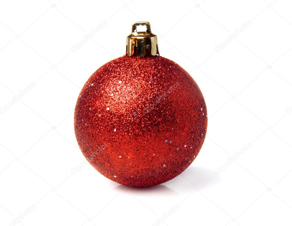 c9d741204f2e One red glittery Christmas bauble isolated over white background with gold  color thread — Stock Photo