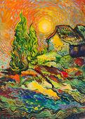 krajina se stromy, domy a moře