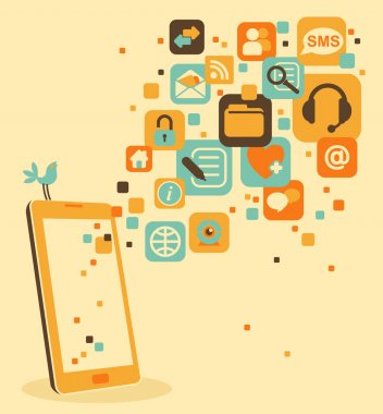 Smartphone and social, media, web icons