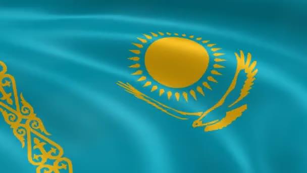 Kazakhstani flag in the wind.