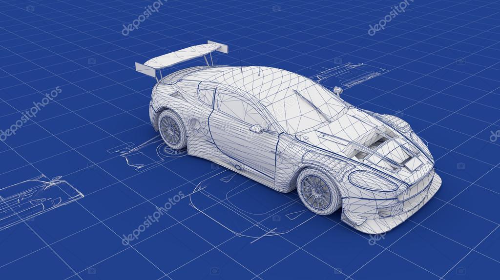 Blueprint Race Car — Stock Photo © nmcandre #13870400