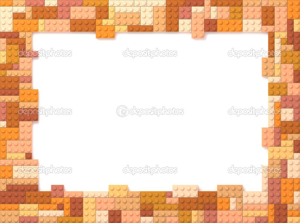 ladrillos del juguete del cuadro marco - naranja — Foto de stock ...